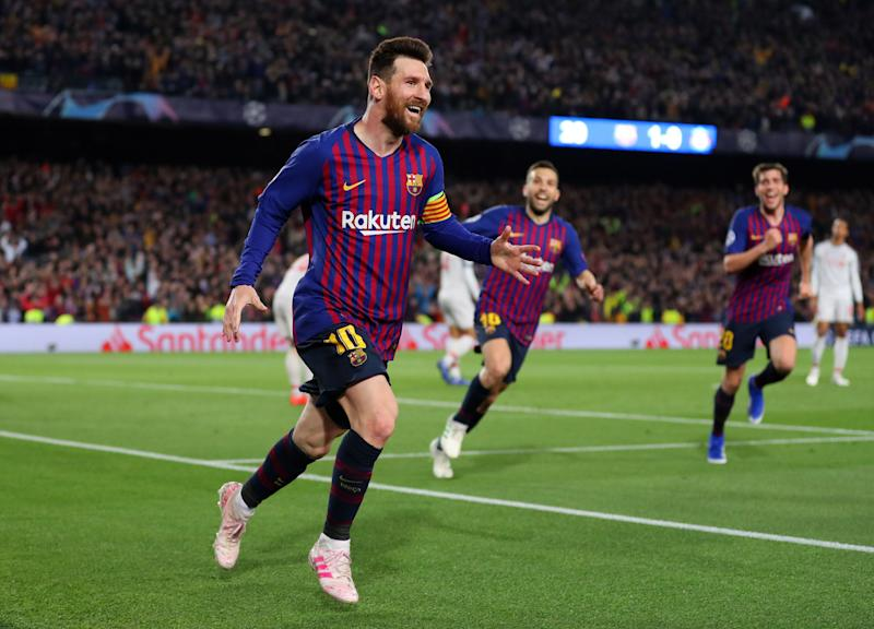 75f1aff3e Lionel Messi of Barcelona celebrates after he scores his sides second goal  during the UEFA Champions