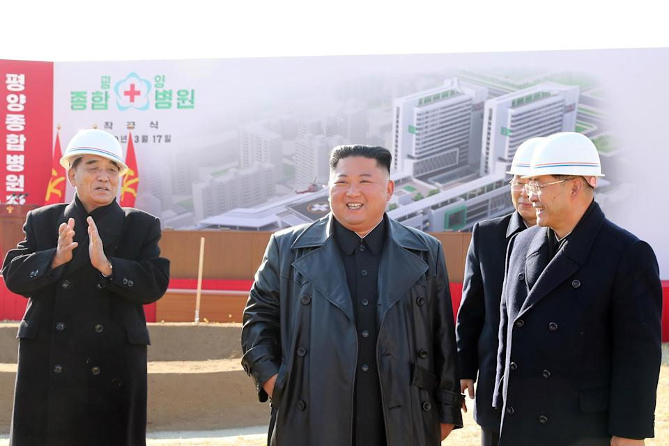 Supreme Leader of North Korea, Kim Jong-un, at a ground-breaking ceremony for Pyongyang General Hospital in North Korea, March 17, 2020.