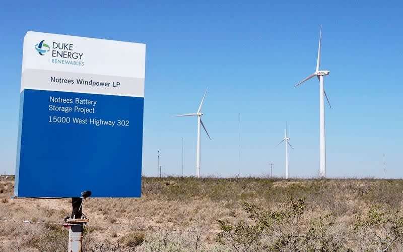 FILE PHOTO: Duke Energy wind farm is pictured in Notrees
