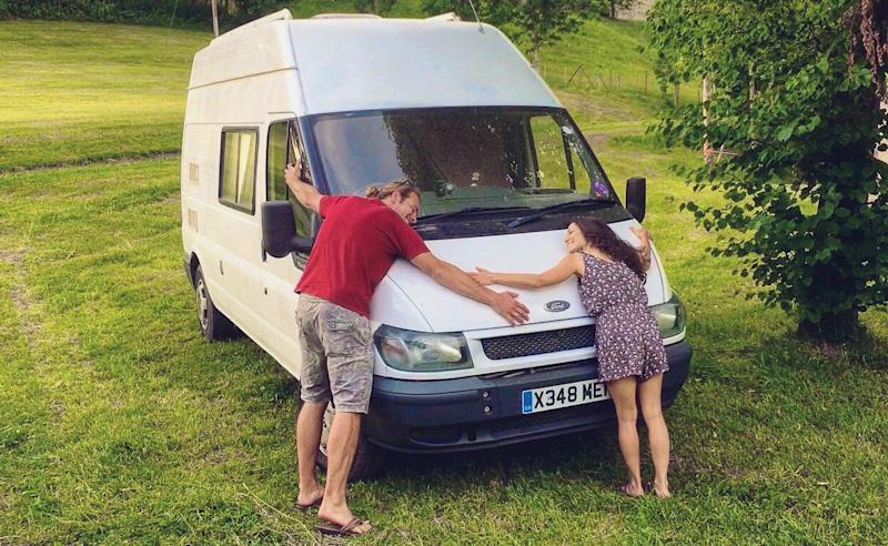 Drew and Brittany hugging The Howeller, their European honeymoon mobile, in Germany in June 2017. (Photo: Courtesy of Mr. and Mrs. Adventure)