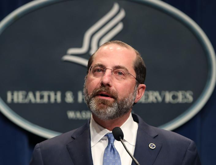 HHS Secretary Alex Azar speaks about the coronavirus during a press briefing on the administration's response to COVID-19 at the Department of Health and Human Services headquarters on Tuesday in Washington, DC. (Photo: Mark Wilson via Getty Images)