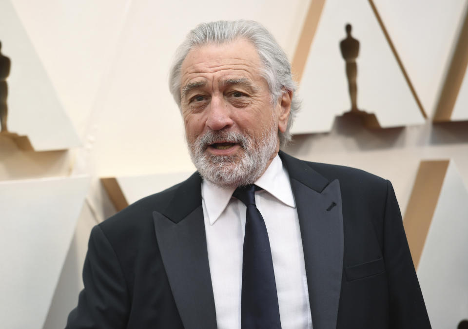 Robert De Niro arrives at the Oscars on Sunday, Feb. 9, 2020, at the Dolby Theatre in Los Angeles. (Photo by Richard Shotwell/Invision/AP)