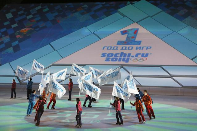 SOCHI, RUSSIA - FEBRUARY 07: Ice skaters perform during the 'Sochi 2014 - One Year To Go' ceremony at Bolshoi Ice Dome on February 7, 2013 in Sochi, Russia. (Photo by Oleg Nikishin/Getty Images)