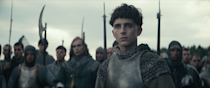 """<p>Prince Hal (<a class=""""link rapid-noclick-resp"""" href=""""https://www.popsugar.com/Timoth%C3%A9e-Chalamet"""" rel=""""nofollow noopener"""" target=""""_blank"""" data-ylk=""""slk:Timothée Chalamet"""">Timothée Chalamet</a>) is crowned King Henry V after his father passes away. As a new ruler, Hal has to face all the hostilities and politics that his father left behind as he battles for England.</p> <p><a href=""""http://www.netflix.com/title/80182016"""" class=""""link rapid-noclick-resp"""" rel=""""nofollow noopener"""" target=""""_blank"""" data-ylk=""""slk:Watch The King on Netflix now."""">Watch <strong>The King</strong> on Netflix now.</a></p>"""