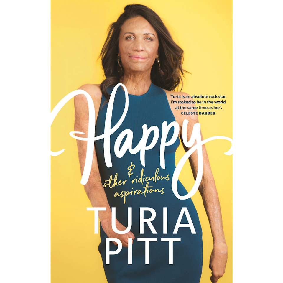 the cover of Turia Pitt's new book happy and other ridiculous aspirations
