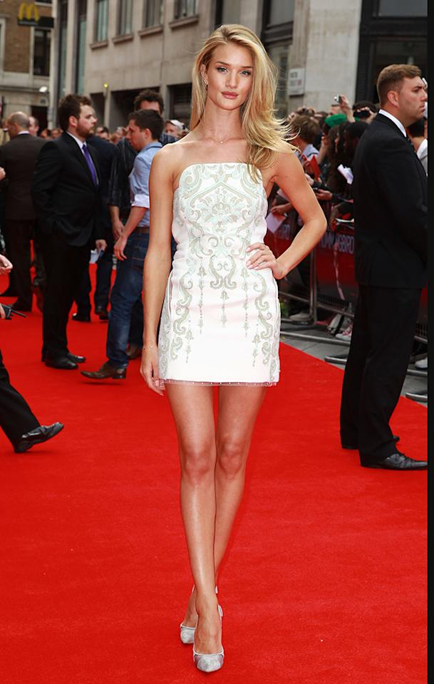 LONDON, UNITED KINGDOM - JUNE 17: Rosie Huntington-Whiteley attends the UK Premiere of 'Hummingbird' at Odeon West End on June 17, 2013 in London, England. (Photo by Fred Duval/Getty Images)