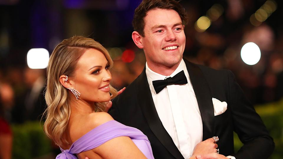 Lachie Neale has not requested a trade from the Brisbane Lions, with he and wife Julie simply in early discussions about where they want to start their family.. (Photo by Kelly Defina/AFL Photos/via Getty Images)