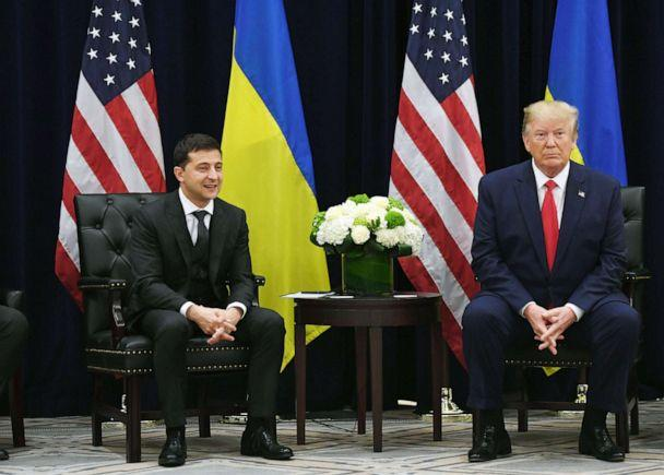 PHOTO: President Donald Trump and Ukrainian President Volodymyr Zelenskiy hold a meeting in New York, Sept. 25, 2019. (Saul Loeb/AFP/Getty Images)