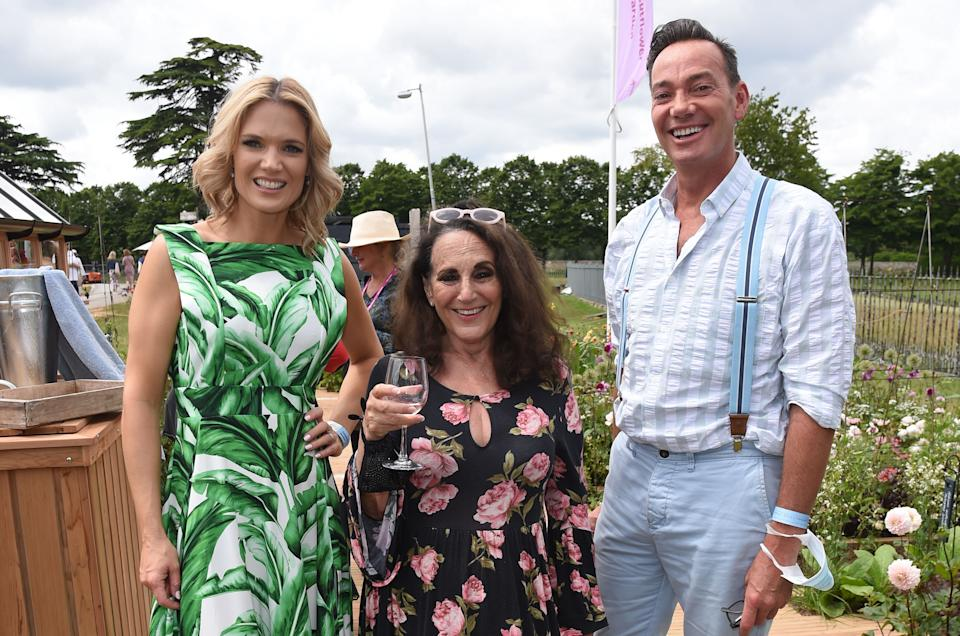 LONDON, ENGLAND - JULY 05:  (L-R) Charlotte Hawkins, Lesley Joseph and Craig Revel Horwood attend a VIP Preview of the RHS Hampton Court Palace Garden Festival 2021 at Hampton Court Palace on July 5, 2021 in London, England.  (Photo by David M. Benett/Dave Benett/Getty Images)