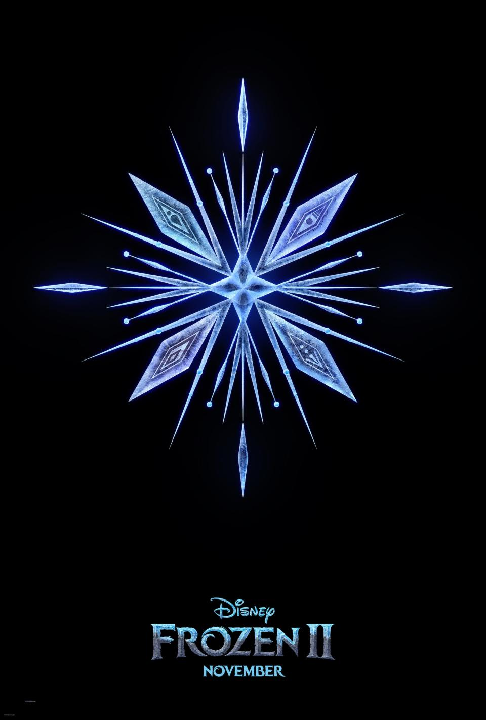 The first poster for <i>Frozen 2</i>. Look closely at the snowflake to see hidden patterns. (Disney)