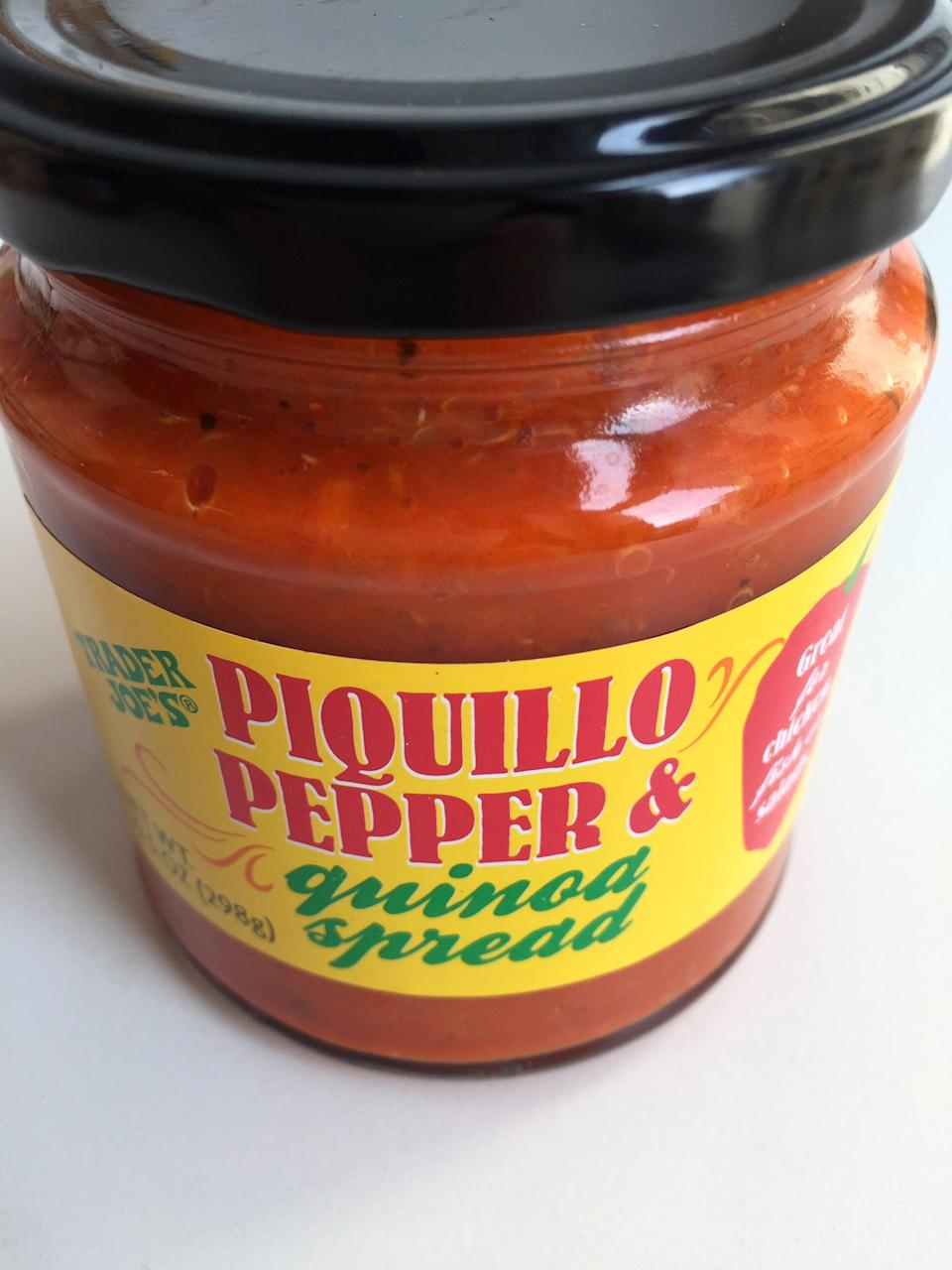 """<p>If you are a fan of TJ's roasted red pepper spread, then get your hands on this <a href=""""http://www.traderjoes.com/digin/post/piquillo-pepper-quinoa-spread"""" class=""""link rapid-noclick-resp"""" rel=""""nofollow noopener"""" target=""""_blank"""" data-ylk=""""slk:Piquillo Pepper & Quinoa Spread"""">Piquillo Pepper & Quinoa Spread</a>, which is more tomato-y than peppery in flavor and has a nice texture from the quinoa. </p>"""