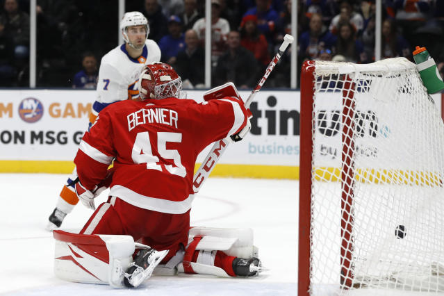 New York Islanders right wing Jordan Eberle (7) watches as his second goal of the night goes into the net past Detroit Red Wings goaltender Jonathan Bernier during the second period of an NHL hockey game Friday, Feb. 21, 2020, in Uniondale, N.Y. (AP Photo/Kathy Willens)