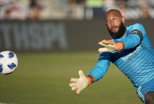 File-This June 1, 2018, file photo shows Colorado Rapids goalkeeper Tim Howard deflecting a shot by the Vancouver Whitecaps during the first half of an MLS soccer match, in Commerce City, Colo. Colorado Rapids and former U.S. national team goalkeeper Howard says this season will be his last in Major League Soccer. Howard announced his final season on Tuesday, Jan. 22, 2019, on social media, a day after the Rapids players reported to training camp in advance of the season. (AP Photo/Jack Dempsey, File)