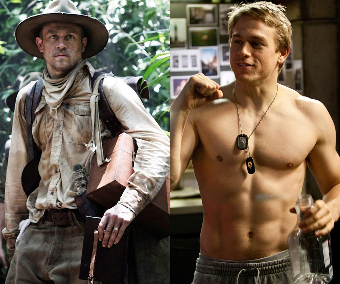 """<p>Hunnam lost some 35 pounds for his role in <i>Lost City of Z</i>, in which he plays an early 20<sup>th</sup> century British Explorer trekking thrice through the Amazon in search of an ancient city. """"We were starving, and it was incredibly humid and hot, so we didn't have to imagine too much of the hardship those guys were enduring,"""" Hunnam told <a rel=""""nofollow"""" href=""""https://www.yahoo.com/movies/charlie-hunnams-lost-city-z-diet-400-calories-day-180303526.html""""><i>Yahoo Movies</i></a>, saying he consumed between 400 and 500 calories a day. He found it easier to lose weight for this film than his last, <i>Papillon</i>, because he did it alongside costars Robert Pattinson and Edward Ashley. """"There was a sense that we were in it together. But then also on the underside of it, a little bit of competition… So we kept each other honest."""" </p>"""