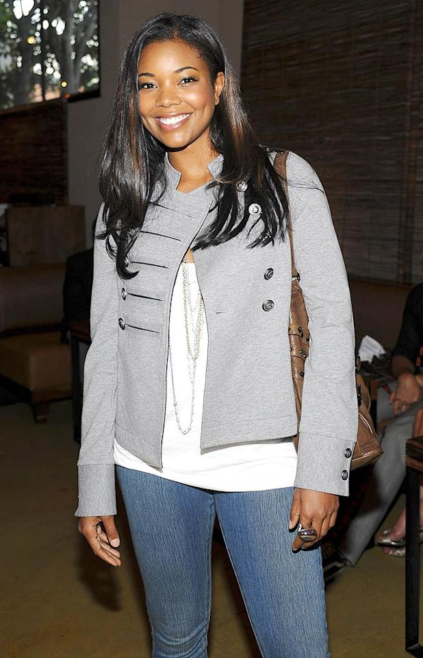 """Gabrielle Union looked ready for fall in her gray military-style jacket and jeans. Stefanie Keenan/<a href=""""http://www.wireimage.com"""" target=""""new"""">WireImage.com</a> - July 29, 2009"""