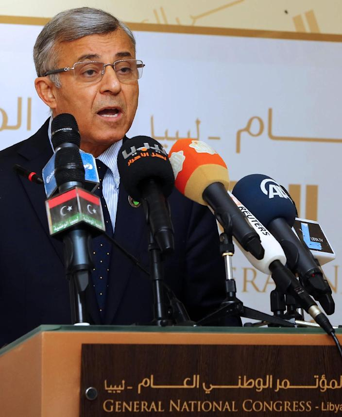 The president of the Libyan General National Congress (GNC), Nuri Abu Sahmein, speaks during a press conference in Tripoli on June 24, 2014 (AFP Photo/Mahmud Turkia)