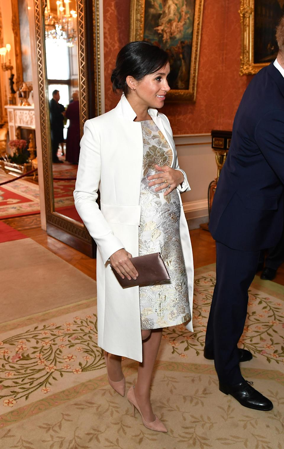 Meghan Markle wore an embroidered dress for the occasion. (Photo: Getty Images)