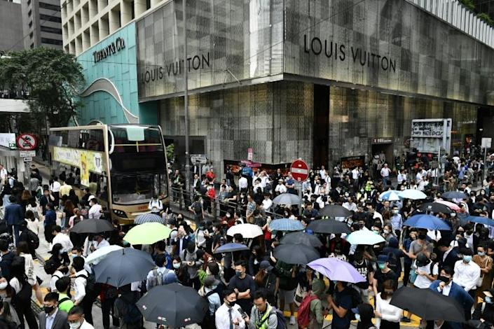 The scenes in Hong Kong's Central district were a vivid illustration of how moderate people are continuing to back the pro-democracy movement (AFP Photo/Anthony WALLACE)