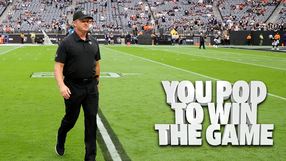 Former Las Vegas Raiders coach Jon Gruden walks off the field for what is assuredly the final time as an NFL head coach after he resigned abruptly Monday evening following a leak of offensive emails. (Photo by Ethan Miller/Getty Images)