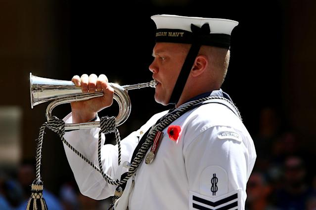 <p>A member of the HMAS Waterhen and Royal Australian Navy Band plays The Last Post during the Remembrance Day Service held at the Cenotaph, Martin Place on Nov. 11, 2017 in Sydney, Australia. (Photo: Lisa Maree Williams/Getty Images) </p>