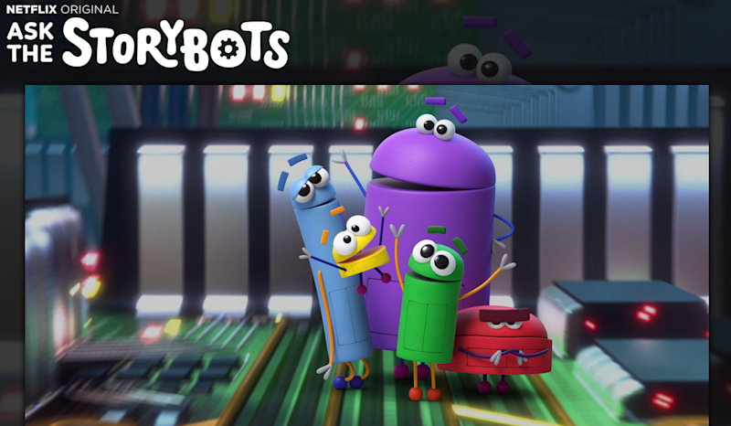 The Ask the StoryBots landing page on Netflix showing the five bots waving.