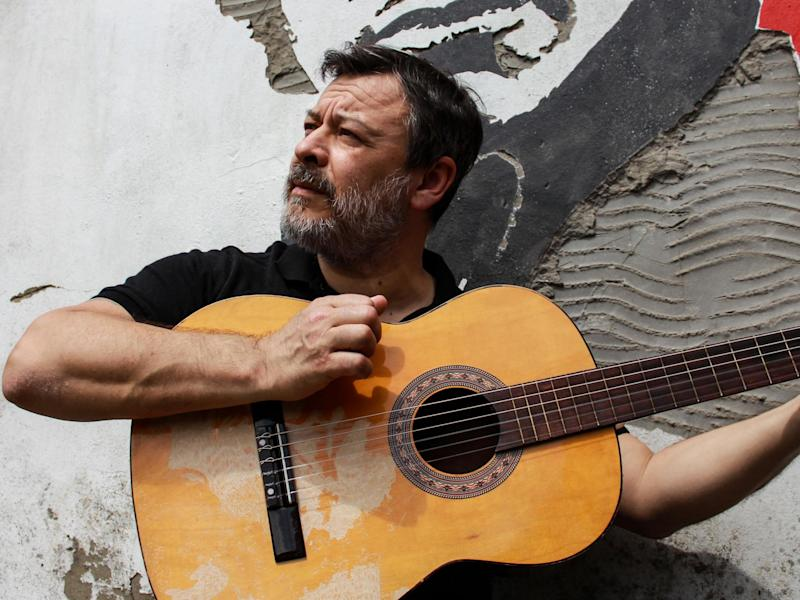 Bradfield next to the artwork for his first solo album in 14 years: James Dean Bradfield