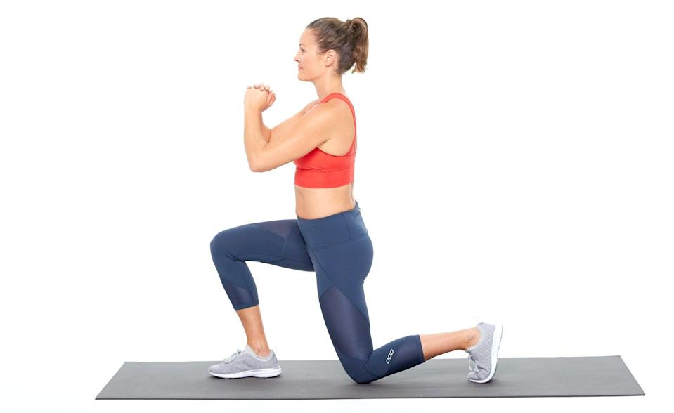 """<p>""""Lunges hit major major muscle groups all around the body including your glutes, hamstrings, quads, back muscles, and abs,"""" said ACE-certified trainer Bianca Grover of <a href=""""https://www.biancagroverfitness.com/"""" class=""""link rapid-noclick-resp"""" rel=""""nofollow noopener"""" target=""""_blank"""" data-ylk=""""slk:Bianca Grover Fitness"""">Bianca Grover Fitness</a>. """"Because they split your base and require balance, this is a great way to push yourself without the weights.""""</p> <ul> <li>Start standing, with your feet hip-distance apart.</li> <li>Keeping your core engaged and your torso upright, step forward with one leg, lowering your hips until both knees are bent at about a 90-degree angle. Make sure your front knee is directly above your ankle; you should be able to see your front toes. Your back knee should hover just above the floor and your weight should be in your front heel.</li> <li>Press your front heel into the floor as you push back up to the starting position. This counts as one rep.</li> </ul>"""