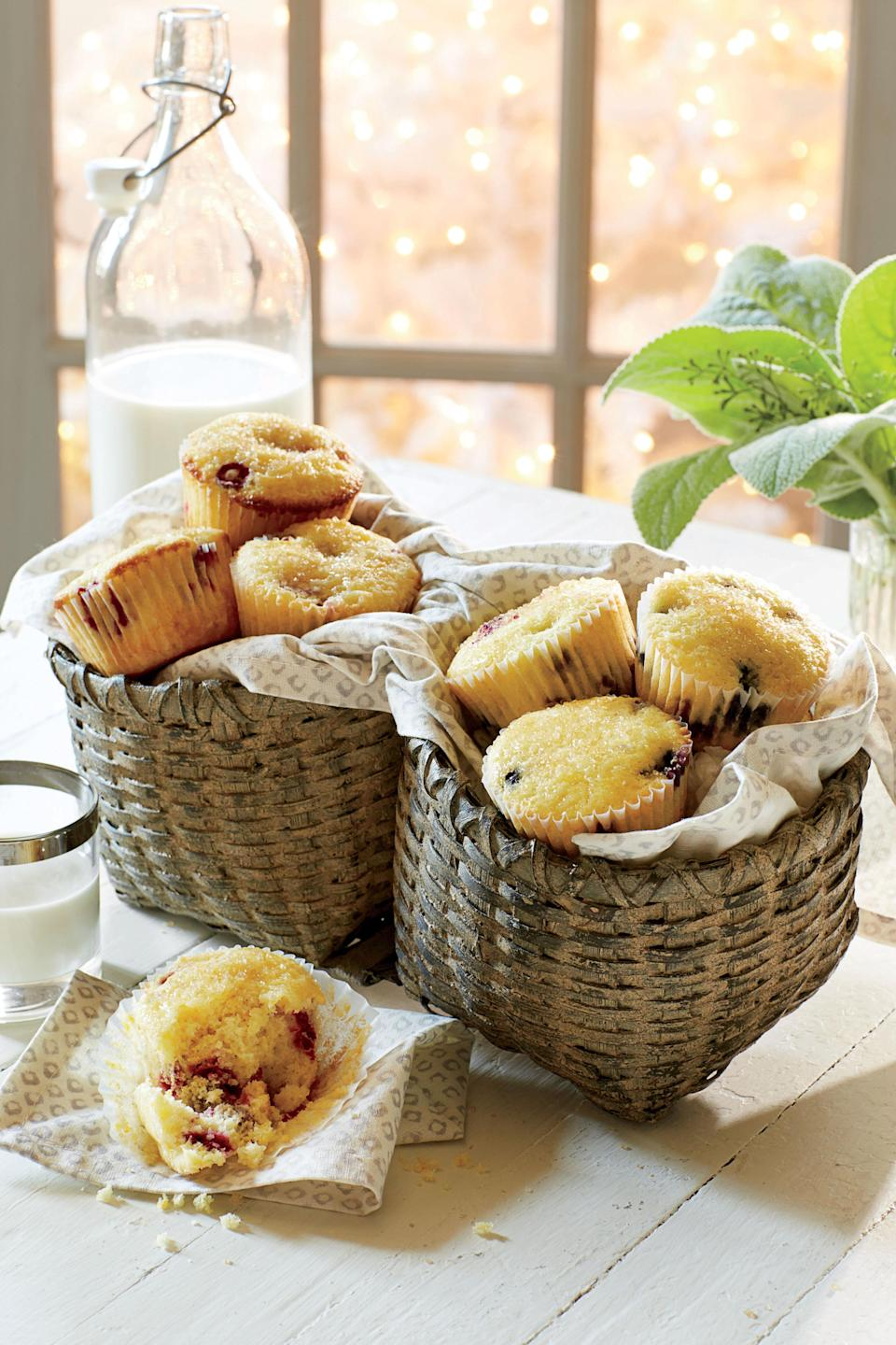 """<p><strong>Recipe: <a href=""""http://www.myrecipes.com/recipe/cranberry-orange-muffins-4"""" rel=""""nofollow noopener"""" target=""""_blank"""" data-ylk=""""slk:Cranberry-Orange Muffins"""" class=""""link rapid-noclick-resp"""">Cranberry-Orange Muffins</a></strong></p> <p>Sprinkle the tops of the glazed muffins with coarse sugar to add texture and a little sparkle.</p>"""