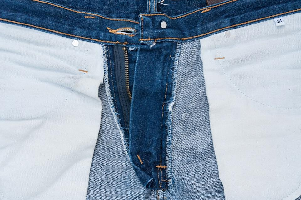 Jeans turned inside out