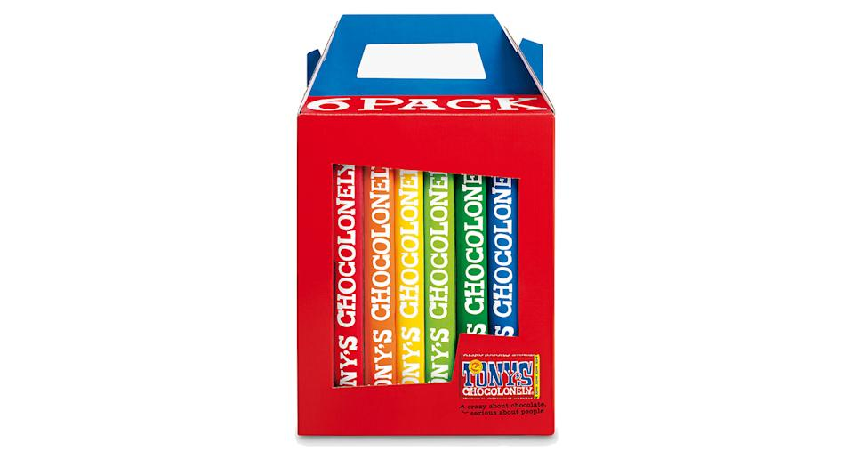 Tony's Chocolonely Rainbow Chocolates, Pack of 6