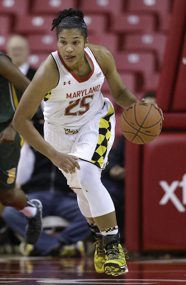 ADVANCE FOR WEEKEND EDITIONS, MARCH 1-2 - FILE - In this Dec. 9, 2013 file photo, Maryland forward Alyssa Thomas drives the ball in the second half of an NCAA college basketball game against Siena in College Park, Md. Thomas is poised to become the school's leading scorer and rebounder, and Sunday her No. 25 will be raised to the rafters of Maryland's home court. (AP Photo/Patrick Semansky, File)
