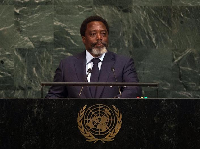 Kabila, seen here at the UN last September, has been in power since 2001. Under the constitution, his final term in office expired at the end of 2016 -- he has invoked a clause entitling him to stay on until his successor is elected (AFP Photo/Bryan R. Smith)
