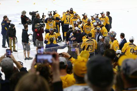 May 22, 2017; Nashville, TN, USA; The Nashville Predators celebrate after defeating the Anaheim Ducks in game six of the Western Conference Final of the 2017 Stanley Cup Playoffs at Bridgestone Arena. Mandatory Credit: Aaron Doster-USA TODAY Sports
