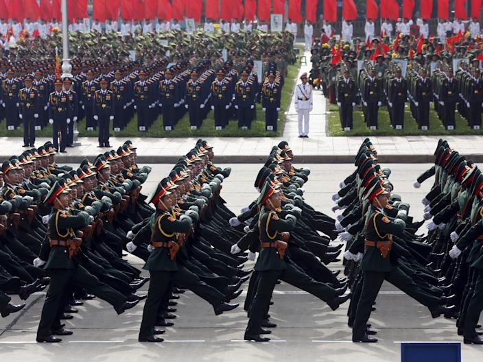 Vietnam military army soldiers troops parade