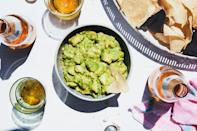 """Naturally, we've got to include the trademark avocado recipe: creamy, dreamy <a href=""""https://www.epicurious.com/recipes-menus/the-most-addictive-guacamole-recipes-gallery?mbid=synd_yahoo_rss"""" rel=""""nofollow noopener"""" target=""""_blank"""" data-ylk=""""slk:guacamole"""" class=""""link rapid-noclick-resp"""">guacamole</a>. This shortcut recipe calls for tomatillo salsa, fresh lime juice, and coarsely chopped avocados. Who says something delicious can't also be simple? <a href=""""https://www.epicurious.com/recipes/food/views/3-ingredient-tomatillo-guacamole?mbid=synd_yahoo_rss"""" rel=""""nofollow noopener"""" target=""""_blank"""" data-ylk=""""slk:See recipe."""" class=""""link rapid-noclick-resp"""">See recipe.</a>"""