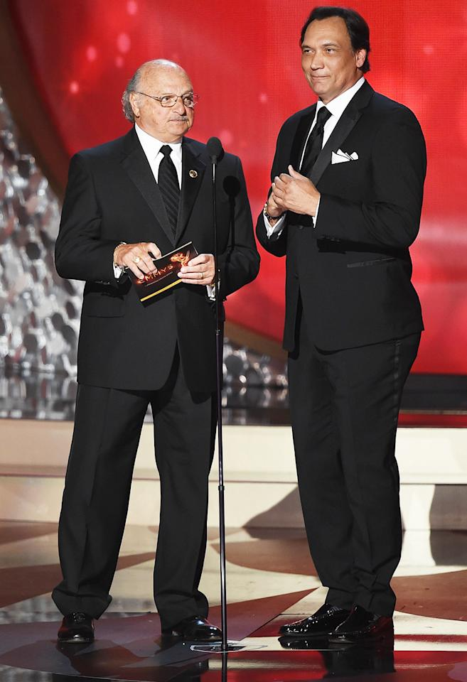 <p>Nearly two decades after working their last case together, NYPD's finest — Andy Sipowicz and Bobby Simone (aka Dennis Franz and Jimmy Smits) — shared the stage in a reunion that warmed the hearts of '90s TV fans everywhere. We know that Franz has declared himself retired and all, but c'mon … if <i>MacGyver</i> can get a reboot, so can <i>NYPD Blue</i>. <i>– Ethan Alter</i> (Photo: Kevin Winter/Getty Images)</p>