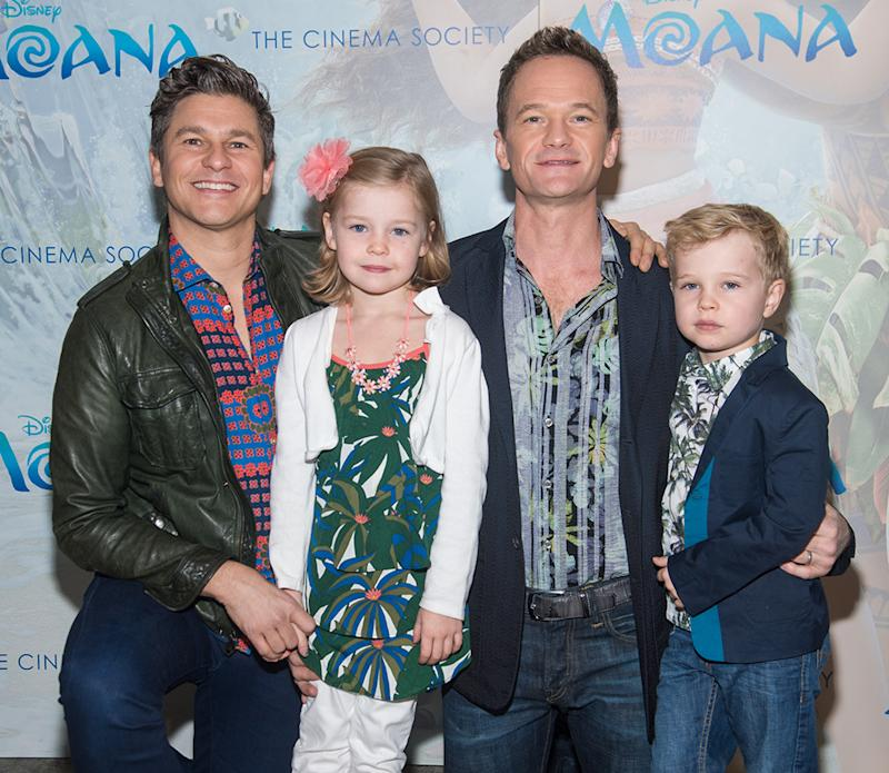 David Burtka, Harper Grace Burtka-Harris, Neil Patrick Harris and Gideon Scott Burtka-Harris attend the Disney Special Screening Of
