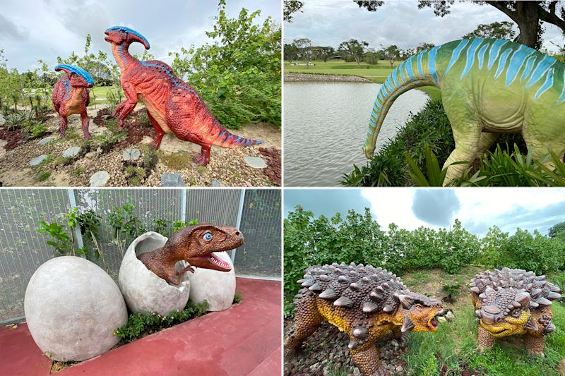 "Dinosaurs seen on display along the Changi Airport Connector's ""Jurassic Mile"" on Sunday (11 October). (PHOTOS: Dhany Osman / Yahoo News Singapore)"