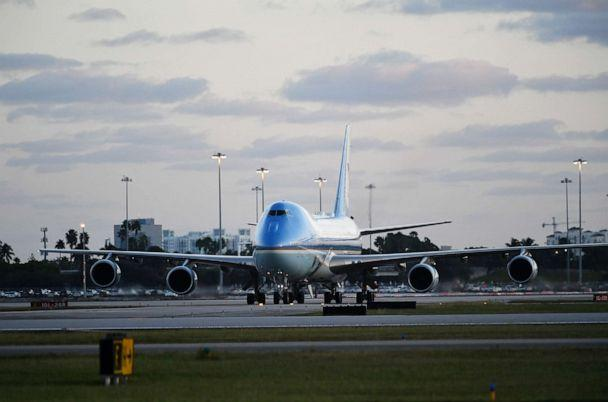 PHOTO: Air Force One, carrying US President Donald Trump, is seen shortly after landing at Palm Beach International Airport in West Palm Beach, Florida, Nov. 29, 2019. (Mandel Ngan/AFP via Getty Images, FILE)
