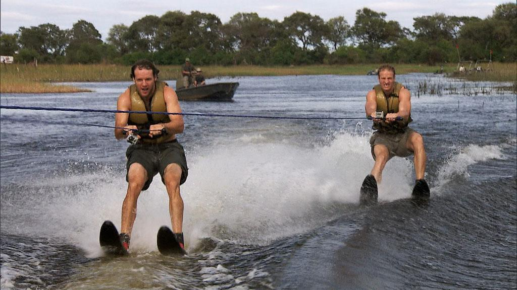 """""""Be Safe and Don't Hit a Cow"""" -- Choosing to take the Fast Forward, Hockey brothers Bates (left) and Anthony (right) must water ski in crocodile infested waters, on """"The Amazing Race."""""""