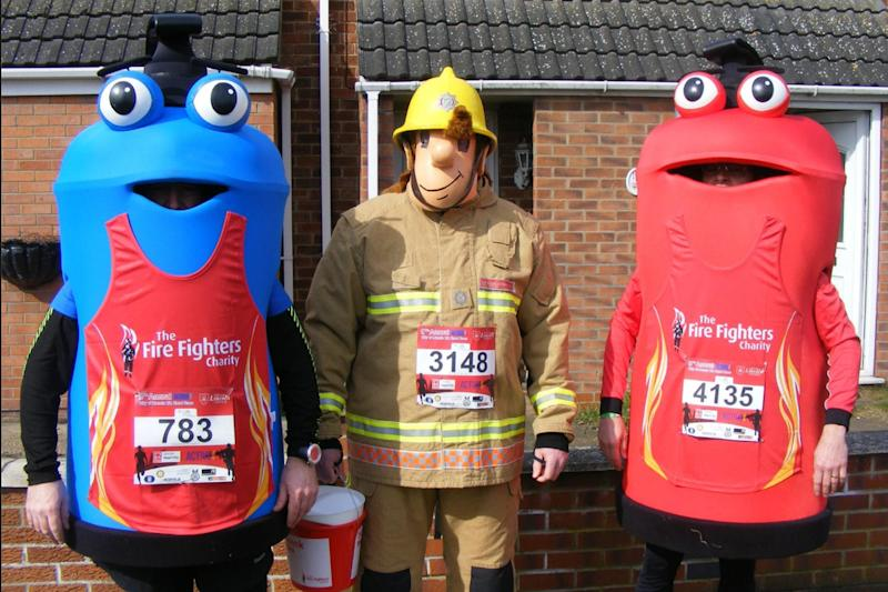 Fire extinguishers Freddy, Filbert and Penelope will replace Fireman Sam at events and in promotional material. (Lincolnshire Fire and Rescue)