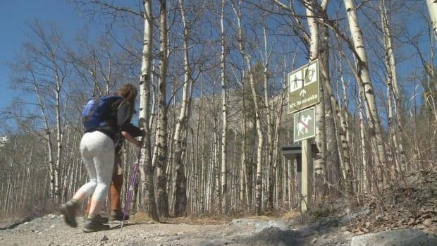 Hikers climbed up Mount Yamnuska on Saturday before the trail closes down at the end of May.