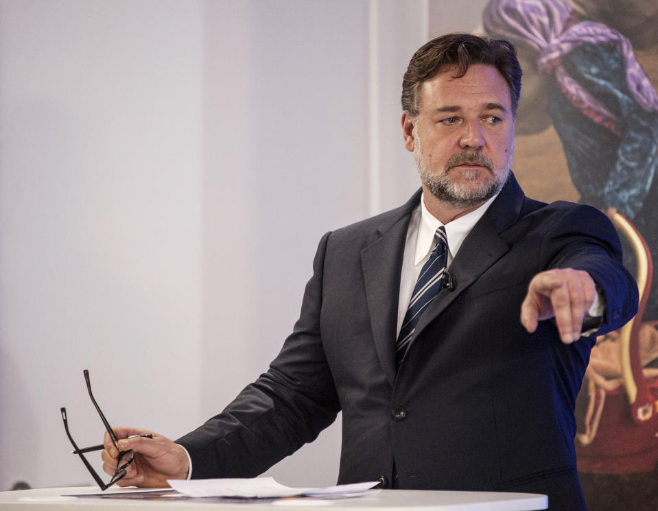 Russell Crowe speaks at the Global Slavery Index launch at the Shard in London.
