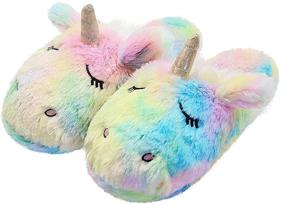 <p>The <span>Unicorn Memory Foam Indoor Slippers</span> ($27) are ultra soft.</p>