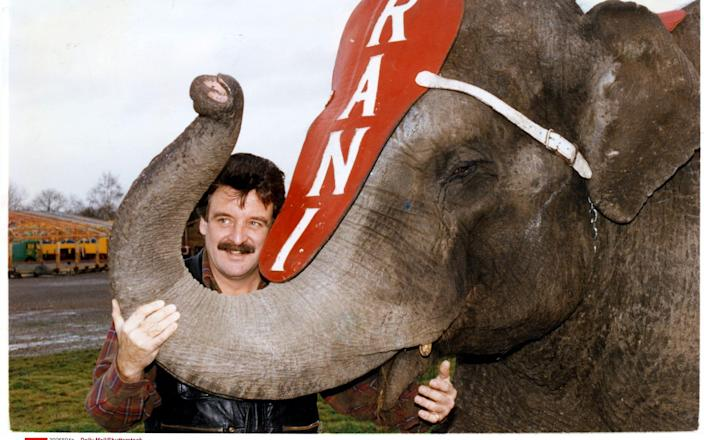 With Rani, the last of his elephants, in 1992 - Shutterstock