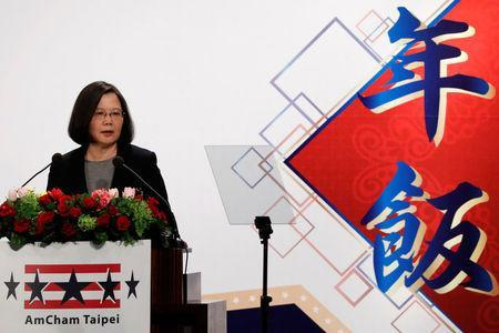 Taiwan's President Tsai Ing-wen attends American Chamber of Commerce (AmCham)'s yearly dinner event, in Taipei, Taiwan March 21, 2018. REUTERS/Tyrone Siu