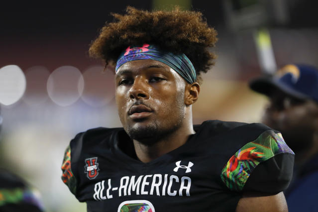 "Five-star freshman DE <a class=""link rapid-noclick-resp"" href=""/ncaaf/players/299118/"" data-ylk=""slk:Kayvon Thibodeaux"">Kayvon Thibodeaux</a> could make an instant impact for Oregon. (Photo by Mark LoMoglio/Icon Sportswire via Getty Images)"