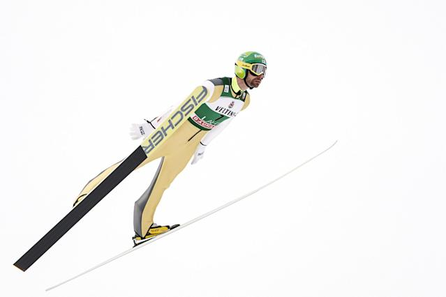 Lahti Ski Games - FIS Nordic World Cup - Men's Ski Jumping - Lahti, Finland - March 4, 2018. Janne Ahonen of Finland competes. LEHTIKUVA/Roni Rekomaa via REUTERS ATTENTION EDITORS - THIS IMAGE WAS PROVIDED BY A THIRD PARTY. NO THIRD PARTY SALES. NOT FOR USE BY REUTERS THIRD PARTY DISTRIBUTORS. FINLAND OUT. NO COMMERCIAL OR EDITORIAL SALES IN FINLAND.