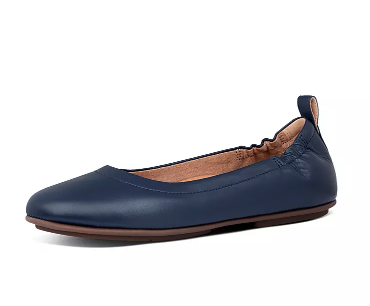 Allegro Soft Leather Ballet Flats in Navy. Image via Fitflop.