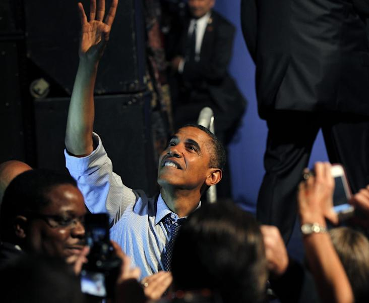 President Barack Obama greets supporters after speaking at a fundraiser at the House of Blues in New Orleans, Wednesday, July 25, 2012. (AP Photo/Gerald Herbert)